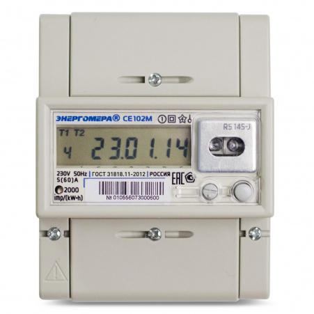 Электросчетчик Энергомера СЕ102М R5 148-A 10(100)А/230В однофазный, многотарифный