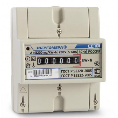 Электросчетчик Энергомера CE101 R5 145 M6 5(60)А/230В однофазный, однотарифный